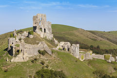 Corfe Castle. The historic ruins of Corfe Castle on the Isle of Purbeck, Dorset, England stock photo