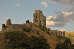 Corfe castle. From oposite hill Stock Photos