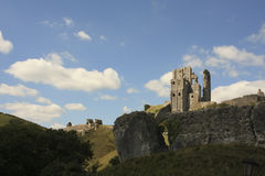 Corfe castle ruin Royalty Free Stock Photo