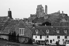 Corfe Castle Ruin and village Royalty Free Stock Photography