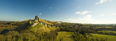 Corfe Castle ruins near Swanage in Dorset. Sweeping views of Corfe Castle ruins near Swanage in Dorset Stock Image