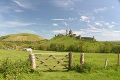 Corfe Castle Seen Across Fields, Dorset Royalty Free Stock Photo