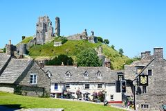 Corfe castle and village centre. Royalty Free Stock Images
