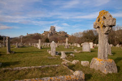 Corfe Castle from the village graveyard. Corfe castle, defended by Lady Bankes for the Royalists during the English civil war and laid waste by the Round Heads Royalty Free Stock Photo