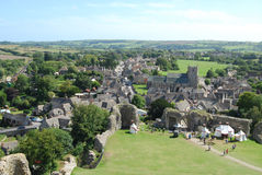 Corfe Castle village. View from castle of village of Corfe Castle, jurassic coast, Dorset Royalty Free Stock Images