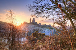 Corfe Castle Winter sunrise. Stock Images