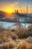 Corfe Castle Winter sunrise pre-dawn colourburst. Royalty Free Stock Image