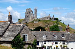 Corfe, England:Corfe Castle & Greyhound Pub Stock Photography