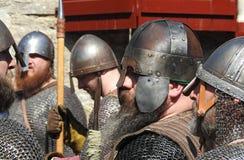 Corfe kasztel, Corfe, Dorset UK Maj 2018 Wikingowie versus sasa reenactment bitwa oblężenie Wareham reklama 878 zdjęcia royalty free