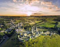 Corfe kasztelu wschód słońca Obraz Royalty Free