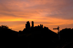 Corfe slott Arkivbild