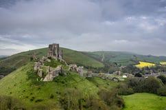 Corfe slott i Dorset Royaltyfria Bilder