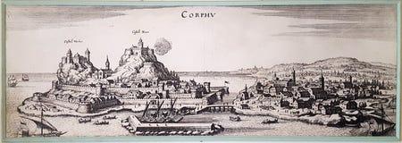 CORFOU, GRÈCE - 20 JANVIER 2018 : La lithographie de la vieille ville de Corfou à l'intérieur de dans le palais d'Achilleion, sur image stock