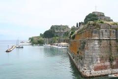 corfu堡垒希腊城镇 库存图片