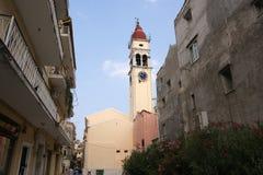 城市corfu希腊爱奥尼亚人海岛海运 库存图片