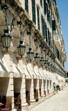Corfu. View of the beautiful building with many lanterns royalty free stock photo
