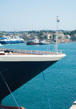 Corfu. Close up of the nose of a big ship royalty free stock photos