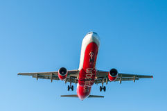 CORFU AIRPORT, GREECE - SEPTEMBER 14, 2013: Aircraft of Airberlin airways company landing at the airport Corfu Royalty Free Stock Photo