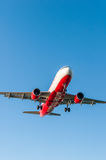 CORFU AIRPORT, GREECE - SEPTEMBER 14, 2013: Aircraft of Airberlin airways company landing at the airport Corfu Royalty Free Stock Photography