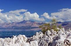 Corfu and the Albanian mountains Stock Image