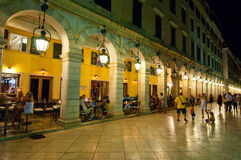 CORFU-AUGUST 22: The Liston of Corfu at night in Kerkyra city with the row of local restaurants on August 22, 2014 on Corfu,Greece Stock Photo