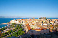 CORFU-AUGUST 22: Panoramic view of Corfu cityscape from the New Fortress on August 22, 2014 on Corfu island, Greece. Royalty Free Stock Image