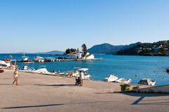 CORFU-AUGUST 22: Vlacheraina monastery and Pontikonisi Island in the distance on August 22,2014 on the island of Corfu, Greece. Stock Photos
