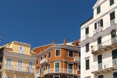 Corfu byggnadsfacade Fotografering för Bildbyråer