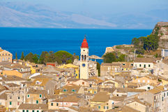 Corfu city and the bell tower of the Saint Spyridon Church from the New Fortress on August on Corfu island, Greece. Stock Photo