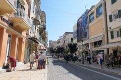 Cityscape of Corfu town Kerkyra with people walking through hi stock image