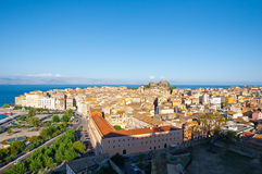Corfu cityscape from the New Fortress on Corfu island, Greece. Royalty Free Stock Photos