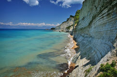 Corfu coast. Beautiful coast near logas beach on corfu island, greece Royalty Free Stock Photo