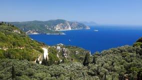 Corfu coastline stock video footage