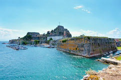 Corfu fortres. Sunny day Corfu fortress in Greece Royalty Free Stock Photos