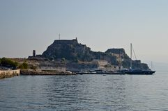 The fortress of Corfu. The Corfu fortress and the docks of the city Royalty Free Stock Photos
