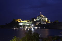 Corfu Fortress by night Stock Images