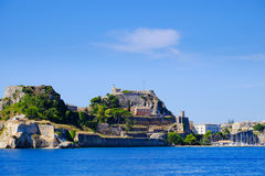 Corfu  fortress walls as seen from the sea panoramic shot. Stock Photos