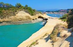 corfu greece ö Kanalen av förälskelse, `-kärleksaffär för kanal D i Sida royaltyfria foton