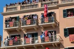 CORFU, GREECE - APRIL 7, 2018: Corfians throw clay pots from balconies on Holy Saturday. Stock Photos
