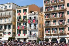 CORFU, GREECE - APRIL 7, 2018: Corfians throw clay pots from windows and balconies on Holy Saturday to celebrate the Resurrection. Of Christ. Easter pot royalty free stock images