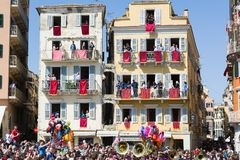 CORFU, GREECE - APRIL 7, 2018: Corfians throw clay pots from windows and balconies on Holy Saturday to celebrate the Resurrection. Of Christ. Easter pot royalty free stock photography