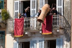 CORFU, GREECE - APRIL 7, 2018: Corfians throw clay pots from windows and balconies on Holy Saturday to celebrate the Resurrection. Of Christ. Easter pot stock image
