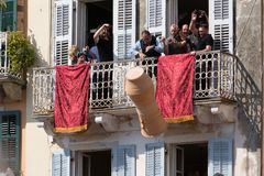 CORFU, GREECE - APRIL 7, 2018: Corfians throw clay pots from windows and balconies on Holy Saturday to celebrate the Resurrection. Of Christ. Easter pot stock photo