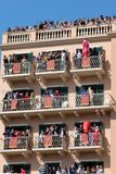 CORFU, GREECE - APRIL 7, 2018: Corfians throw clay pots from windows and balconies on Holy Saturday to celebrate the Resurrection. Of Christ. Easter pot stock images