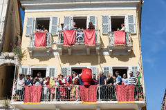 CORFU, GREECE - APRIL 30, 2016: Corfians throw clay pots from windows and balconies on Holy Saturday to celebrate the Resurrection. Of Christ. Easter pot royalty free stock photography