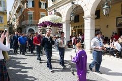 CORFU, GREECE - APRIL 6, 2018: The epitaph processions of Good Friday in Corfu. Every church organize a litany. CORFU, GREECE - APRIL 6, 2018: The epitaph stock photos