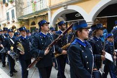 CORFU, GREECE - APRIL 29, 2016: Philharmonic musicians playing in Corfu Easter holiday celebrations. Corfu has a great tradition in music, with 18 philharmonic Royalty Free Stock Images