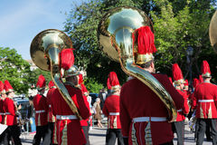 CORFU, GREECE - APRIL 30, 2016: Philharmonic musicians playing in Corfu Easter holiday celebrations, Greece. Royalty Free Stock Images
