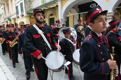 CORFU, GREECE - APRIL 29, 2016: Philharmonic musicians playing in Corfu Easter holiday celebrations. Corfu has a great tradition in music, with 18 philharmonic Royalty Free Stock Photography