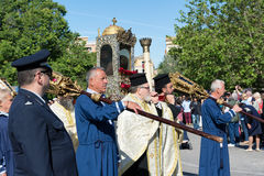 CORFU, GREECE - APRIL 30, 2016: The procession with the relics of the patron saint of Corfu, Saint Spyridon. Royalty Free Stock Photo